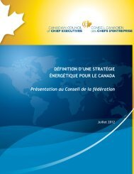 Définition d'une stratégie énergétique pour le Canada - juillet 2012