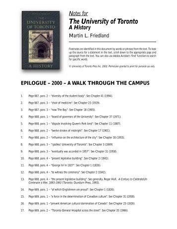 Notes to Epilogue - University of Toronto Press Publishing