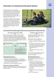 Information zur Krankenversicherung für Rentner