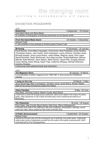 Exhibition Programme List - Changing Room