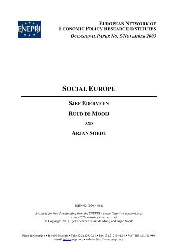 SOCIAL EUROPE - The Centre for European Policy Studies