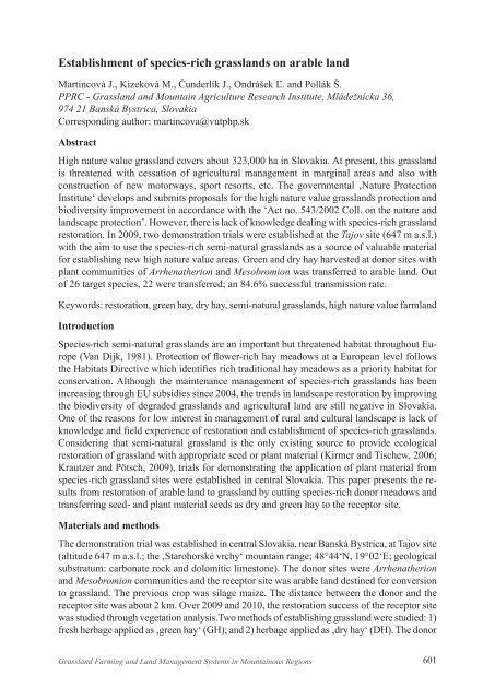 Establishment of species-rich grasslands on arable land - European ...