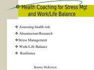 Health Coaching for Stress Mgt and Work/Life Balance