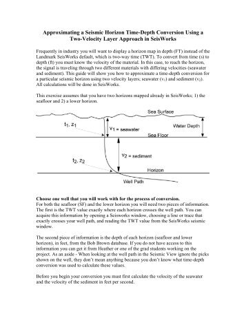 Approximating a horizon time-depth conversion using a two-velocity ...