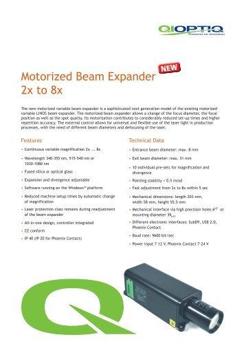 Motorized Beam Expander 2x to 8x - Qioptiq Q-Shop