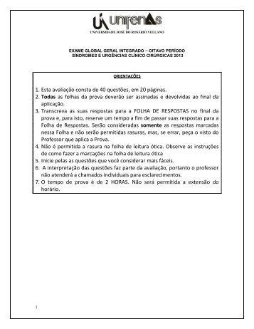 AVALIAÇÃO GLOBAL 2006/1 - Unifenas