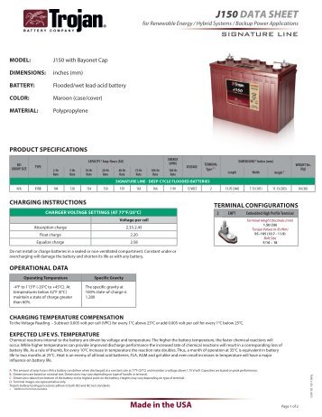 J150 data sheet - Trojan Battery Company
