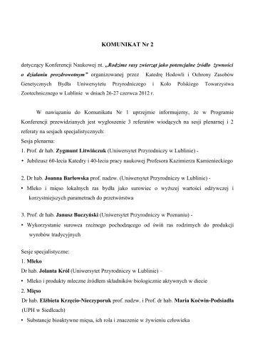 Konferencja - Uniwersytet Przyrodniczy w Lublinie - Lublin
