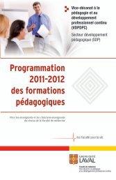 Programmation 2011-2012 des formations pédagogiques
