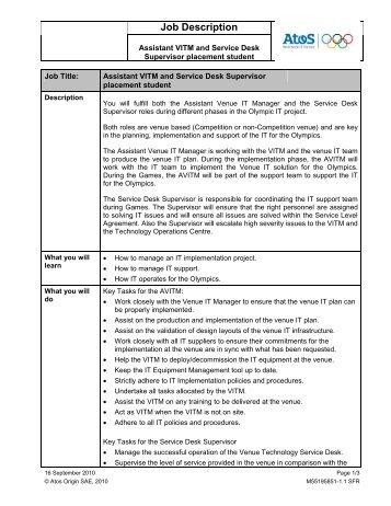 Istant Vitm And Service Desk Supervisor Job Description