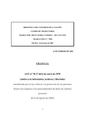 FRANCIA LEY n° 78-17 del 6 de enero de 1978 relativa a la ...