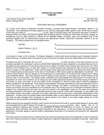 Purchase And Sale Agreement Fl  The Auction Way Company