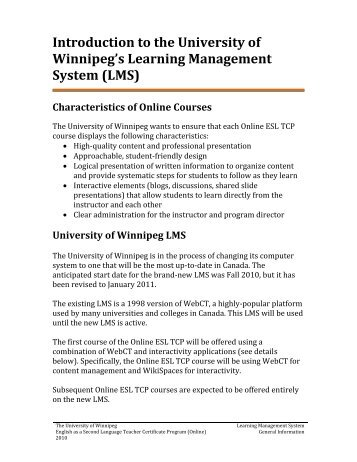 Introduction to the University of Winnipeg's Learning Management ...