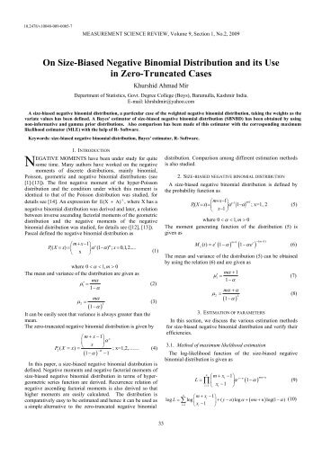 On Size-Biased Negative Binomial Distribution and its Use in Zero ...