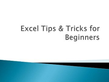 Excel Tips & Tricks for Beginners