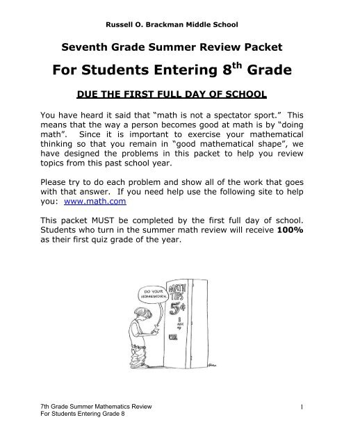 Summer Math Packet For Students Entering 7th Grade Answers