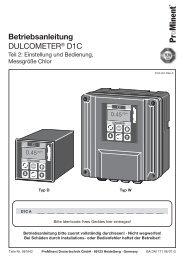 Betriebsanleitung - DULCOMETER® D1C - Teil 2