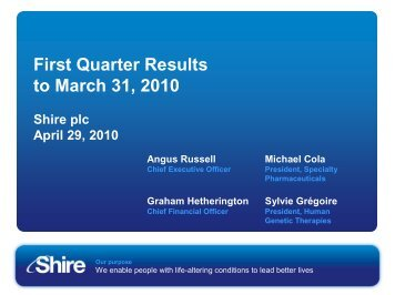 Q1 2010 Results presentation 29 Apr - Shire