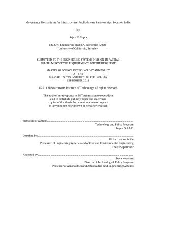 Governance Mechanisms for Infrastructure Public ... - Title Page - MIT
