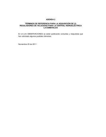 ADENDA 2 TÉRMINOS DE REFERENCIA PARA LA ... - Chec