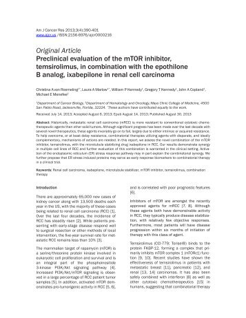 Original Article Preclinical evaluation of the mTOR inhibitor ...