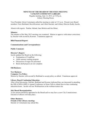 MINUTES OF THE BOARD OF TRUSTEES ... - City of Yankton