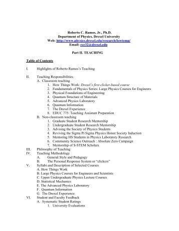 Dr. Ramos's Teaching Portfolio - Department of Physics - Drexel ...