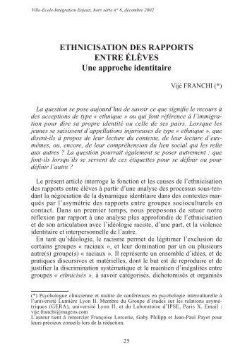Ethnicisation des rapports entre élèves : une approche ... - CNDP