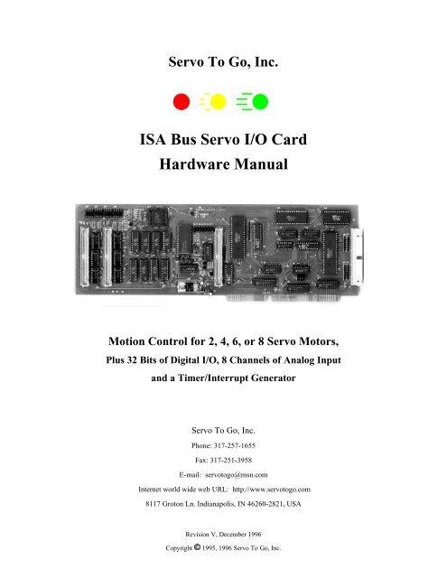 ISA Bus Servo I/O Card Hardware Manual