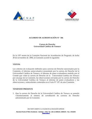 ACUERDO DE ACREDITACIÓN N° 346 Carrera de Derecho ...