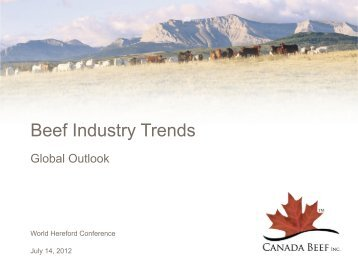 Review and Forecast of Beef Industry Trends on a Global Basis