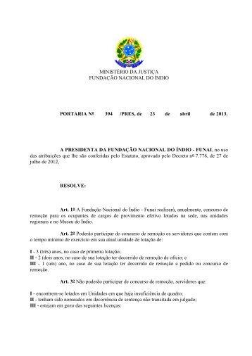 MINISTÉRIO DA JUSTIÇA FUNDAÇÃO NACIONAL DO ... - Funai
