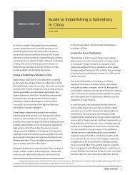 Guide to Establishing a Subsidiary in China - Fenwick & West LLP