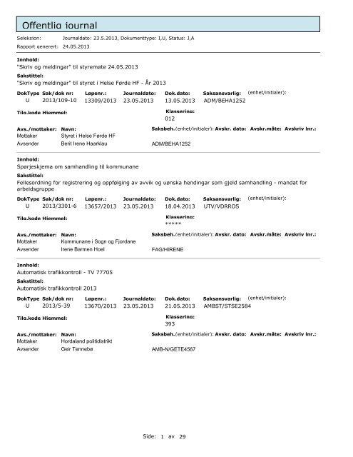 Offentleg journal 05 23 2013.pdf - Helse Førde