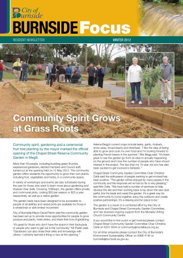 Community Spirit Grows at Grass Roots - City of Burnside - SA.Gov.au