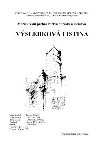 VÝSLEDKOVÁ LISTINA - Český svaz plaveckých sportů