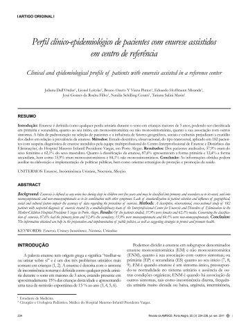 Perfil clínico-epidemiológico de pacientes com enurese assistidos ...