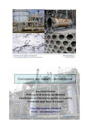 Corrosione dei metalli - introduzione - DipCIA - Università degli studi ...
