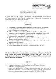 POLITICA AMBIENTALE I valori essenziali del ... - Manutencoop