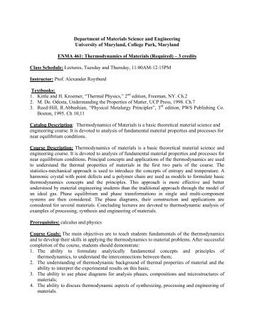 ENMA 461 - Materials Science and Engineering - University of ...