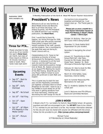 September 2008 (PDF) - Earle B. Wood Middle School PTA