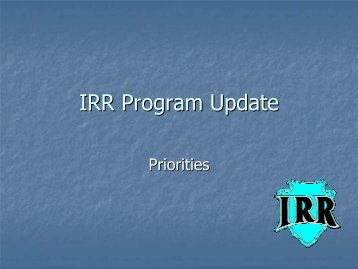 IRR Program Update