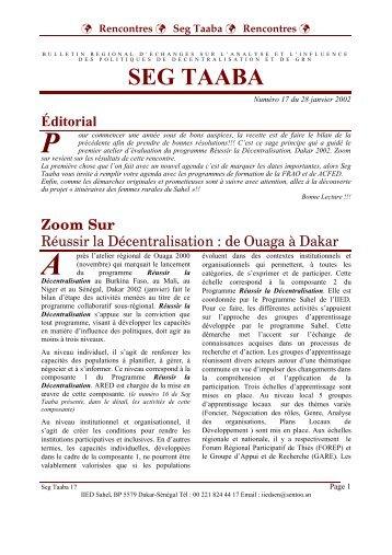 Volume 2002 - n°17 - IED afrique