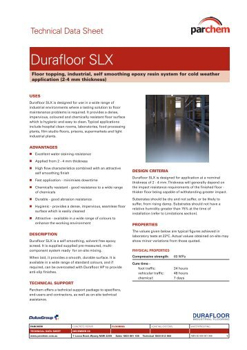 Durafloor SLX TDS - Parchem