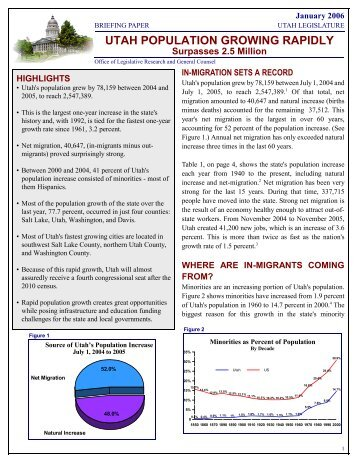 Population Briefing Paper - Utah State Legislature - Utah.gov