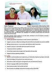 Sales Engineer Bosch Automotive Aftermarket (AA) - Bosch-Career