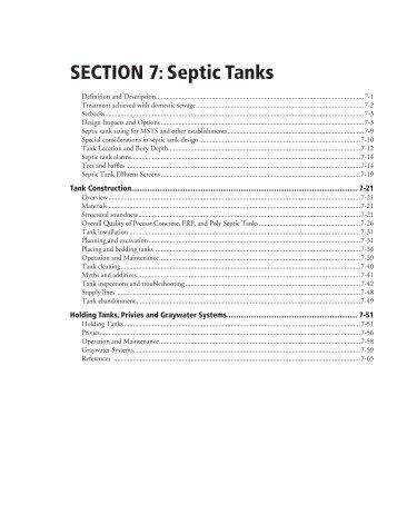 SECTION 7: Septic Tanks - Onsite Sewage Treatment Program ...