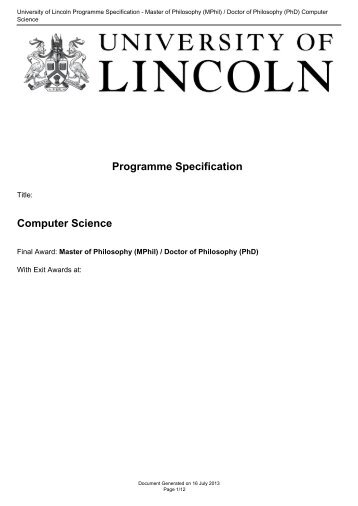 University of Lincoln Programme Specification