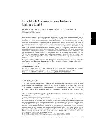 How Much Anonymity does Network Latency Leak? - Computer ...