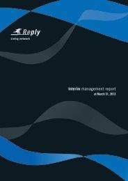 Quarterly Report 2013 - Reply